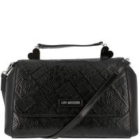 Love Moschino Black Embossed Logo Faux Leather Top Handle Satchel Bag 169609