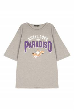 Серая футболка с принтом Dolce&Gabbana 599110241