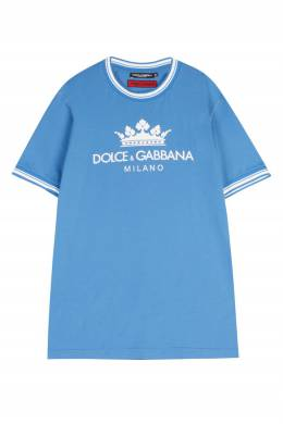 Голубая футболка с логотипом Dolce&Gabbana 599110237