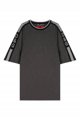 Серая футболка с отделкой Dolce&Gabbana 599110235