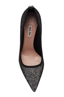 Серебристые туфли с фактурной отделкой Miu Miu 375110870