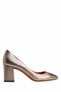 Золотистые кожаные туфли Santoni 1165111101