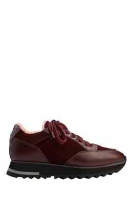 Бордовые кроссовки из овчины Santoni 1165111098