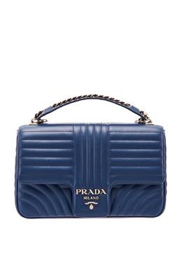 Синяя кожаная сумка с фактурной отделкой Diagramme Prada 40111624