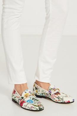Белые текстильные лоферы Jordaan Flora Gucci 470112193