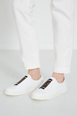 Белые кожаные слипоны с текстильной вставкой Fendi 1632113941