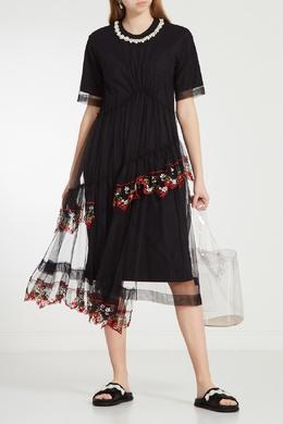 Черные атласные пантолеты с декором Simone Rocha 250113897