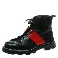 Prada Sport Black/Red Leather High Top Combat Boots Size 44 177974