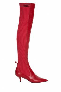 Комбинированные красные ботфорты Fendi 1632113763