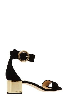 Замшевые босоножки Jaimie 40 с золотистым каблуком Jimmy Choo 25116670