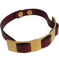 Hermes Gold Tone and Bordeaux Leather Choker Necklace 180973