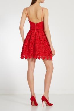 Красное кружевное платье мини Self-portrait 532118339