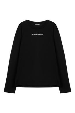 Черный лонгслив с белым логотипом Dolce&Gabbana 599119535