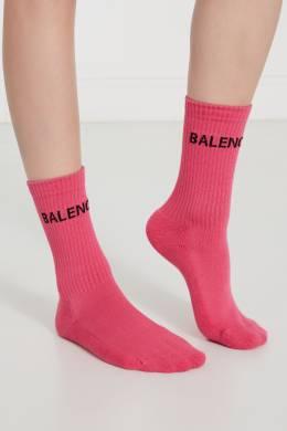 Розовые носки с черным логотипом Balenciaga 397119336