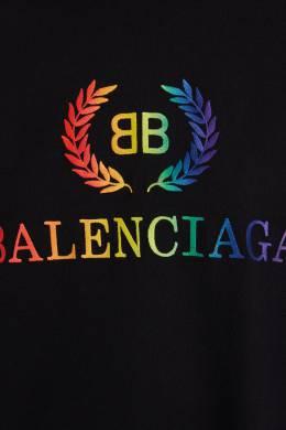 Черная футболка с радужным логотипом BB Balenciaga 397119342