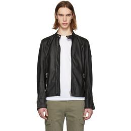 Belstaff Black Leather Arnos Cafe Jacket 191084M18001606GB