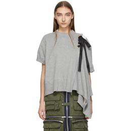 Sacai Grey Lace-Up Sweatshirt 19-04440