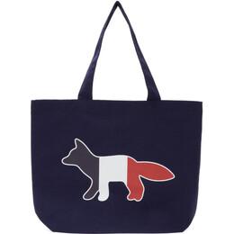 Maison Kitsune Navy Tricolor Fox Tote AU05101WW0007