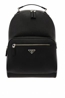Кожаный рюкзак с треугольным логотипом Prada 40122021
