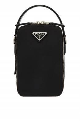 Черная мини-сумка из сафьяновой кожи Prada 40122024