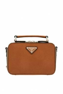 Компактная коричневая сумка Brique Prada 40122031