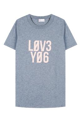 "Серая меланжевая футболка ""Love You"" Red Valentino 986121908"