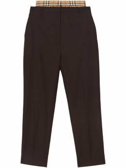 Burberry - брюки с двойным поясом и вставками в клетку Vintage Check 65539330500500000000