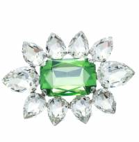 Dsquared2 Green Crystal Flower Silver Tone Pin Brooch 172429