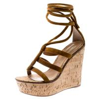 Gianvito Rossi Brown Suede Cork Wedge Ankle Wrap Open Toe Sandals Size 38.5 185605