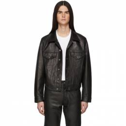 Helmut Lang Black Leather Masc Trucker Jacket 192154M18100101GB