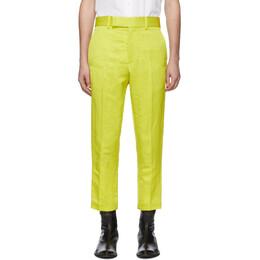 Haider Ackermann Yellow Linen Skinny Leg Trousers 192542M19100203GB