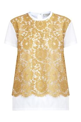 Белая футболка с кружевом Valentino 210126506
