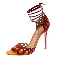 Gianvito Rossi Red And Orange Suede Samba Ankle Wrap Open Toe Sandals Size 37 193741