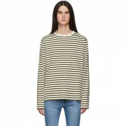 Frame Off-White and Khaki Stripe Classic Long Sleeve T-Shirt 192455M21300305GB