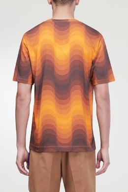 Оранжевая футболка с принтом Dries Van Noten 1525127444