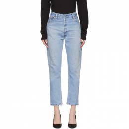 Re/Done Indigo Levis Edition High-Rise Ankle Crop Jeans 192800F06900206GB