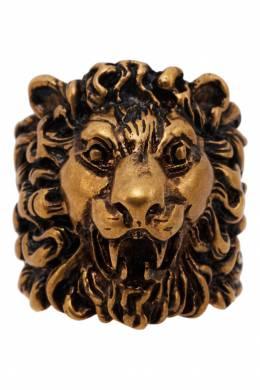 Золотистое кольцо с головой льва Gucci 470127493