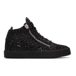 Giuseppe Zanotti Design Black Glitter Kriss High-Top Sneakers 192266M23600515GB