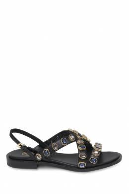 Черные сандалии с кристаллами Ash 6128605