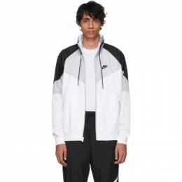 Nike Grey and White Sportswear Windrunner Jacket 192011M18000402GB