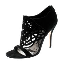 Gianvito Rossi Black Suede Cutout Sandals Size 40 195790
