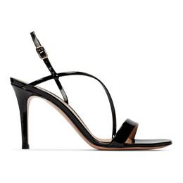 Gianvito Rossi Black Patent Manhattan Strappy Sandals 192090F12500504GB