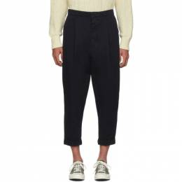 Ami Alexandre Mattiussi Navy Oversized Carrot Fit Trousers 192482M19101005GB