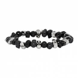 Alexander McQueen Black Beaded Skull Bracelet 201259M14221101GB