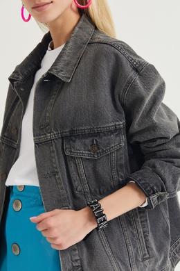 Черный кожаный браслет со стразами Balenciaga 397128263