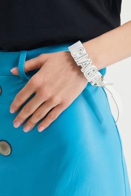 Белый кожаный браслет со стразами Balenciaga 397128266