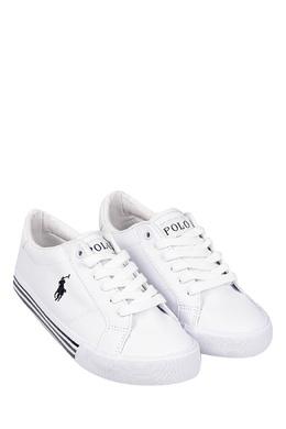 Белые кеды с черным логотипом Ralph Lauren Kids 1252130277