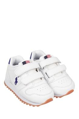 Белые кроссовки на липучках Ralph Lauren Kids 1252130301