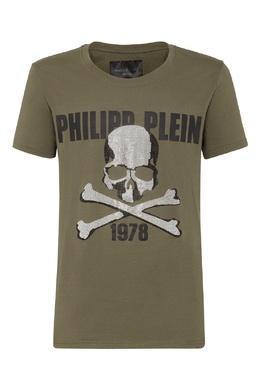 Зеленая футболка с логотипом и стразами Philipp Plein 1795130753