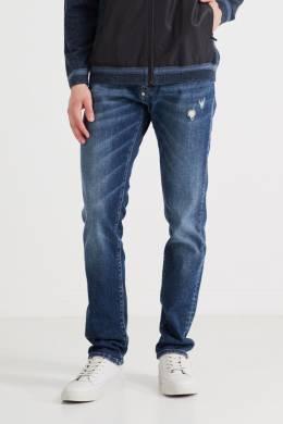 Темно-синие джинсы с потертостями и прорезями Philipp Plein 1795131556